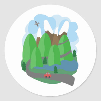 Over the Mountains Classic Round Sticker