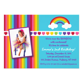 Over the Rainbow Girls Photo Birthday Invitations