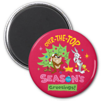 Over The Top Season's Greetings 6 Cm Round Magnet