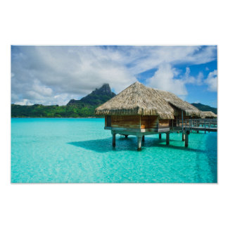 Over-water bungalow, Bora Bora poster print