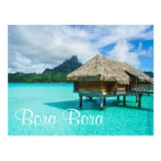 Over-water bungalow, Bora Bora text postcard