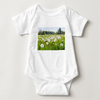 Overblown dandelions in green dutch meadow baby bodysuit