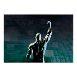 Overcoming Obstacles with Man Achieving Success Poster