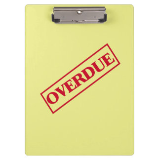 Overdue Stamp - Red Ink Yellow Background Clipboard