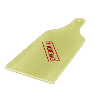 Overdue Stamp - Red Ink Yellow Background Cutting Board