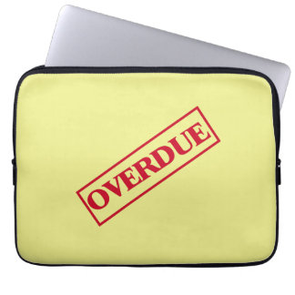 Overdue Stamp - Red Ink Yellow Background Laptop Sleeves