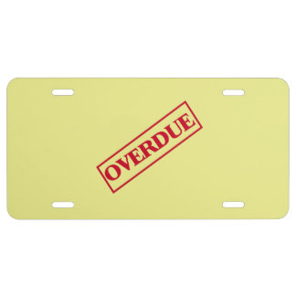 Overdue Stamp - Red Ink Yellow Background License Plate
