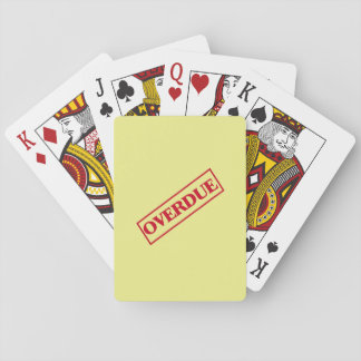 Overdue Stamp - Red Ink Yellow Background Playing Cards