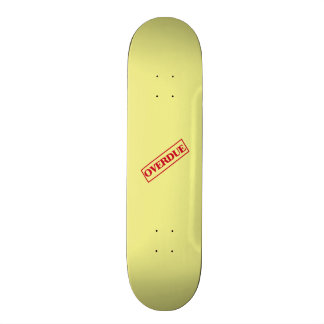 Overdue Stamp - Red Ink Yellow Background Skateboards