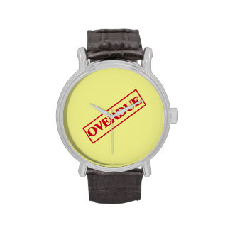 Overdue Stamp - Red Ink Yellow Background Watches