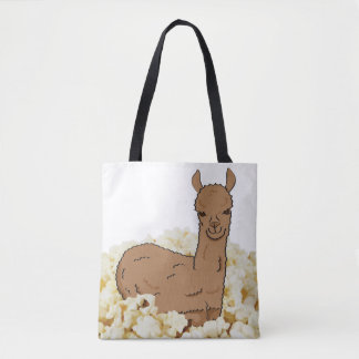 Overfed Llama in a Bed of Popcorn Tote Bag