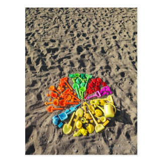 Overhead view of colourful children's plastic post cards