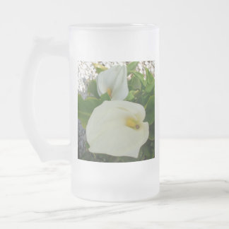 Overhead View Of Two Calla Lilies In A Garden Frosted Glass Beer Mug
