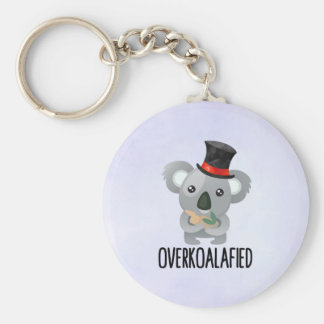 Overkoalafied Pun Cute Koala in Top Hat Key Ring