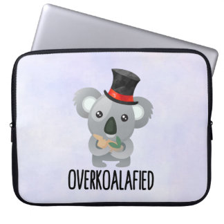 Overkoalafied Pun Cute Koala in Top Hat Laptop Sleeve