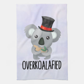 Overkoalafied Pun Cute Koala in Top Hat Tea Towel