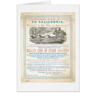 Overland Mail Route to CA 1866 (1257A) -Unrestored Greeting Card