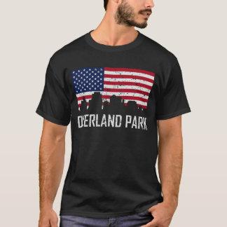 Overland Park Kansas Skyline American Flag Distres T-Shirt