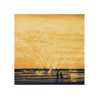 Overlap of love-tree & sea- wood wall decor