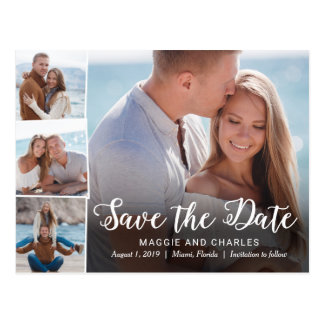 Overlapped Photos Wedding Save The Date Postcard
