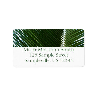 Overlapping Palm Fronds Tropical Green Abstract Address Label
