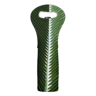 Overlapping Palm Fronds Tropical Green Abstract Wine Bag