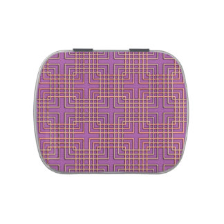 Overlapping squares on purple geometric pattern jelly belly tin