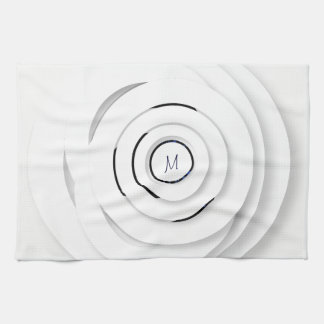 Overlapping White Rings - faux 3D - Kitchen Towel