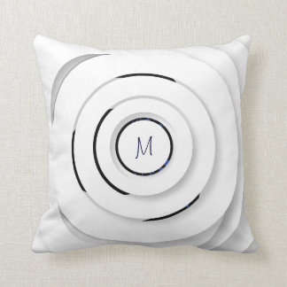 Overlapping White Rings - faux 3D - Throw Pillow