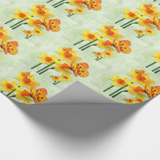 Overlaying Squares of Yellow Daffodils on Green Wrapping Paper