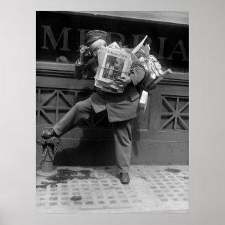 Overloaded Postman, 1920s Poster