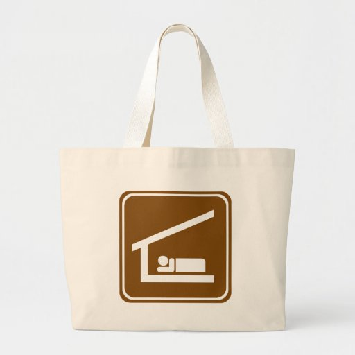 Overnight Shelter Highway Sign Canvas Bags