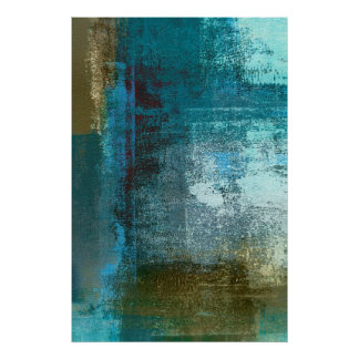 'Oversight' Teal Abstract Art Poster Print