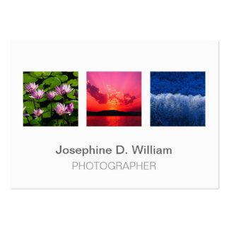 Oversize 3 photos or logo white gray modern chic pack of chubby business cards
