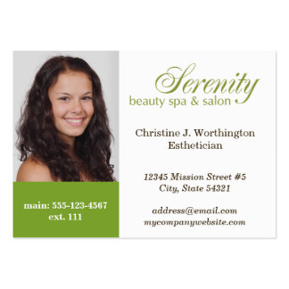 Oversize green custom headshot company logo pack of chubby business cards