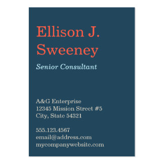 Oversize navy blue professional bold type design pack of chubby business cards
