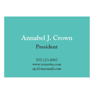 Oversize solid teal company logo traditional business cards