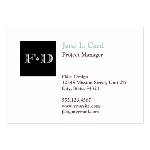Oversize thumbnail logo simply chic white brown business card template