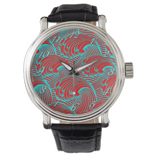 Oversized black leather red blue wave design wrist watch