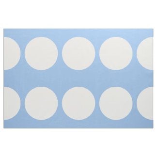 Oversized White Polka Dots on Light Blue Fabric