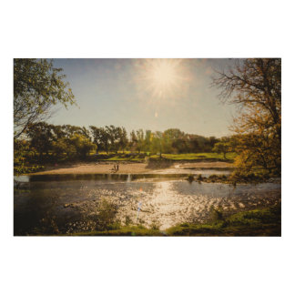 Overview Of The Banks Of A River With Clear Sky Wood Print