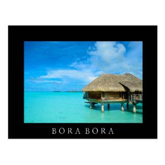Overwater bungalow, Bora Bora black text postcard