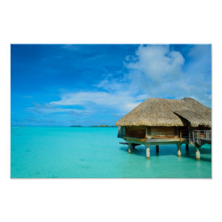 Overwater bungalow on Bora Bora Poster