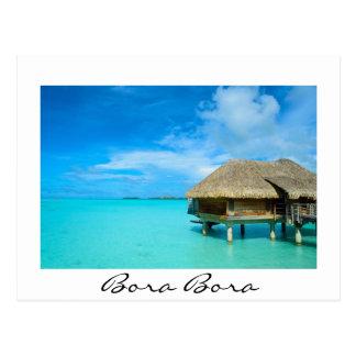Overwater bungalow on Bora Bora white postcard