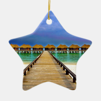 Overwater bungalows at Sheraton Maldives Ceramic Ornament