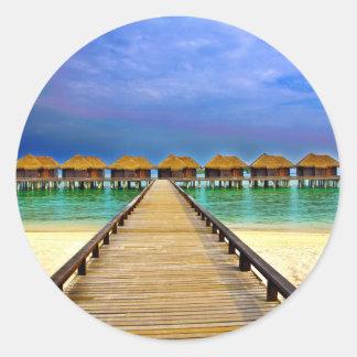 Overwater bungalows at Sheraton Maldives Classic Round Sticker