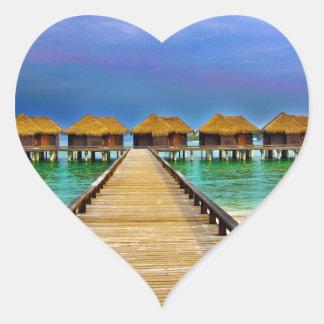 Overwater bungalows at Sheraton Maldives Heart Sticker