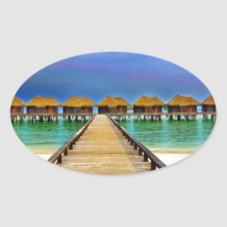 Overwater bungalows at Sheraton Maldives Oval Sticker