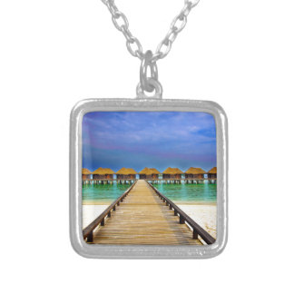 Overwater bungalows at Sheraton Maldives Silver Plated Necklace