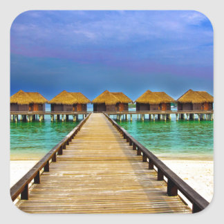 Overwater bungalows at Sheraton Maldives Square Sticker